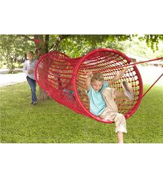 Heavy-Duty Netted Rope Tunnel Bridge For Kids Outdoor Play, Red - Hearthsong Kids Outdoor Play, Kids Play Area, Backyard For Kids, Outdoor Toys, Outdoor Fun, Outdoor Decor, Build A Playhouse, Playhouse Outdoor, Backyard Playground