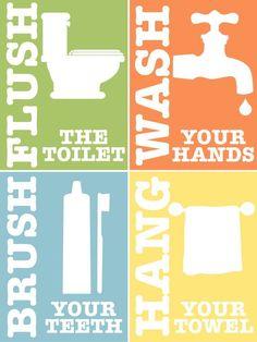items similar to kids bathroom rules set of printable art blue orange green yellow on etsy free bathroom printables