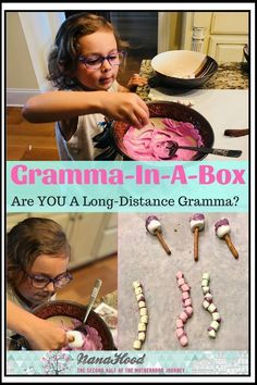 Are you a long distance Gramma? This is the cutest idea for bonding with your grandkids! Send them this special are package and hop on skype or facetime so you can join them! #grandkids #nanahood #activities #family #grammainabox #longdistance #cooking #c