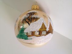 Christmas Polish Blown Glass Ball Ornament Hand Painted 4 Inches picclick.com