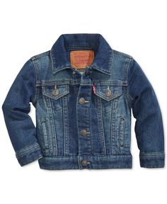 Hey Handsome! This denim jacket is super cool and made from soft cotton. From Levi's. | Cotton | Machine washable | Imported | Solid denim hue | Long sleeves | Collar with front button close | Pockets