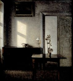 Interior with potted plant on card table, Bredgade 25Vilhelm Hammershöi (Danish, 1864-1916) Oil on canvas, 71 x 78.5 cm...