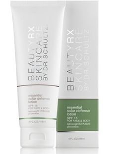 Essential Solar Defense Lotion for Face & Body SPF 15 by BeautyRx Skincare by Dr. Schultz. $30.00. Scientifically formulated to help provide effective protection from both UVA and UVB damaging rays. Lightweight, water-based, oil-free, and non-greasy. Spreads easily and dries quickly, making it ideal for the body. Formulated to be water resistant for up to 40 minutes in the water. BeautyRx Skincare by Dr. Schultz. Protect your facial skin from the damaging rays of the su...