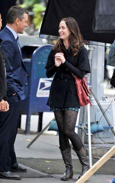 Emily Blunt Matt Damon Photos: Damon, Blunt, and Robbins on Set in the Village