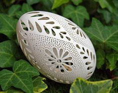 Eggshell of Polish goose - handmade sculpted #85 - transparent easter carved egg ornament decoration unique gift pysanka ażurowa pisanka