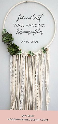 We are so excited to share one of my favorite projects so far  A DIY wall hangin...#diy #excited #favorite #hangin #projects #share #wall Diy Hanging Shelves, Succulent Wall, Succulent Wreath, Diy Upcycling, Boho Diy, Bohemian, Succulents Diy, Colorful Succulents, Artificial Succulents
