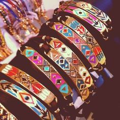 Multi colored tribal bracelets! Love them all!