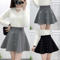 College style high waist A line pleated skirt YV2070