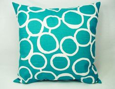 Turquoise Decorative Pillow Covers - Two Turquoise and White Throw Pillows - 20 x 20 Throw Pillow Cushion Cover Accent Pillow Sofa Pillow on Etsy, $32.00