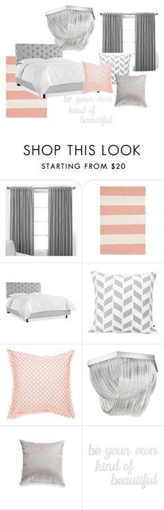 """Grey peach bedroom"" by niratheone on Polyvore featuring interior, interiors, interior design, home, home decor, interior decorating, Dash & Albert, Jonathan Adler, Home Fashions International and PBteen"