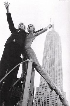 Andy Warhol and Edie Sedgewick in front of the Empire State Building  photo credit: David McCabe, 1965