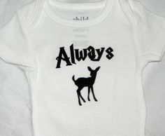 This Always Doe baby bodysuit is perfect for your little witch or wizard. Or for the newest member of a Harry Potter fan club.