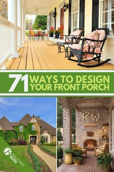 Hanging out on the front porch is a part of so many cultures and people love it. This is where we drink lemonade or hot chocolate and play board games with our loved ones. These 71 front porch design could give you some ideas for your front porch. When you look through them you will see wood, Victorian styles, 2 story designs, concrete patios, colonial structures, enclosed spaces and much more. #frontporch #designs #ideas #house