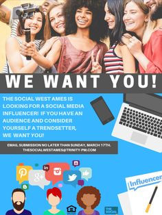 Is your social media We want you! We're looking for a Social Media Inflencer for The Social West Ames. If you think that's you, let us know no later than Sunday, March Pet Friendly Apartments, Apartment Communities, Social Media Influencer, Iowa, March, Sunday, Student, Goals, Learning