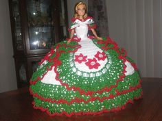 HOLIDAY SALE - Crochet Barbie Christmas Holiday Pillow Bed Doll #Barbie