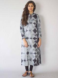 Grey Tie and Dye Cotton Kurta