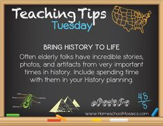 Teaching Tips Tuesday - Bring History to Life https://www.facebook.com/HomeschoolMosaics