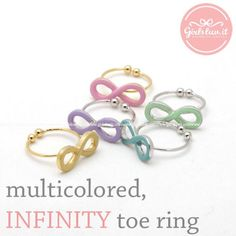 girlsluv.it - multicolored INFINITY toe ring, 5 colors
