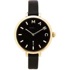 Marc by Marc Jacobs Sally Watch Accessories ($195) ❤ liked on Polyvore featuring jewelry, watches, montres, leather band watches, water resistant watches, stainless steel jewellery, marc by marc jacobs and stainless steel watches