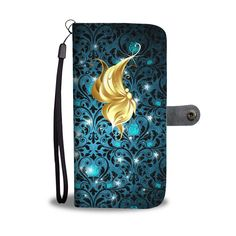 Profile Butterfly on Teal Rose Damask RFID Blocking Cell Wallet Case