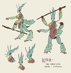 """ellengilmore: """" Meant to post this sooner, but I made a Thri-Kreen monk for a new gladiatorial campaign coming up! (Kitch is based on the Ghost Mantis and also is very good at punching) """" Character Creation, Character Concept, Character Art, Creature Concept Art, Creature Design, Fantasy Inspiration, Character Design Inspiration, Dnd Characters, Fantasy Characters"""