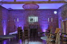 Purple uplighting at the Castle Barn Wasing for a chic winter wedding Wedding Lighting, Event Lighting, Wasing Park, Mood Light, Fairy Lights, Lanterns, Archive, Castle, Barn