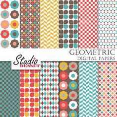 Geometry Digital Papers Retro Flowers Backgrounds by StudioDesset, $3.60