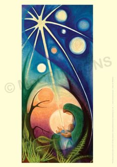 The Eternal God is born - Christmas Banner by Sr Mary Stephen CRSS. The Eternal God, Lord of the Universe, creator of the stars and all the spaces Christmas Banners, Christmas Nativity, Christmas Crafts, Christmas Decorations, Catholic Art, Religious Art, Church Banners, Holy Mary, Madonna And Child