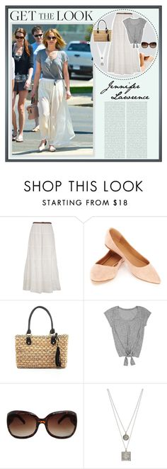 """""""Get the Look: Jennifer Lawrence"""" by ealkhaldi ❤ liked on Polyvore featuring Oris, Oasis, Straw Studios, MANGO, Renee Lewis, GetTheLook and StreetStyle"""
