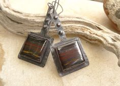 Square Tiger Iron Rustic Copper Earrings by annamei on Etsy