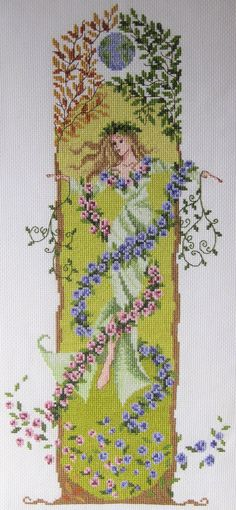 Cross stitch chart for Gaia, the Earth Goddess, designed by Claire Crompton