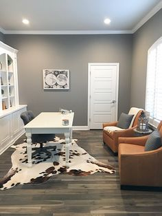Sherwin Williams Dovetail Grey Home Office Paint Color … – Executive Home Office Design Grey Home Office Paint, Gray Home Offices, Office Paint Colors, Paint Colors For Home, Home Office Design, Home Office Decor, Home Interior Design, Gray Paint Colors, Grey Interior Paint