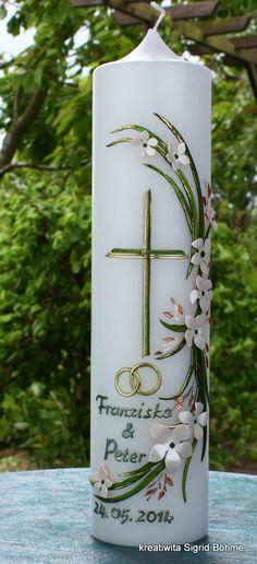 Hochzeitskerze auf Kundenwunsch, gefertigt  von Kreatiwita. http://www.kreatiwita.de