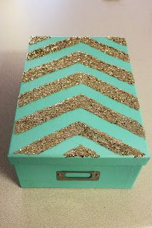 Chevron Aqua Glitter Sparkle Storage Photo Craft DIY Box EXACTLY what I was looking for! Can't wait to make this for my cube!!