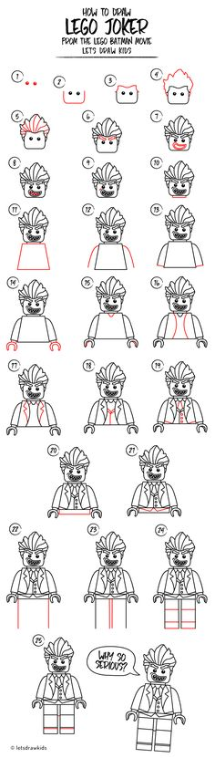 How to draw LEGO JOKER. Easy drawing, step by step, perfect for kids! Lets draw kids. http://letsdrawkids.com/