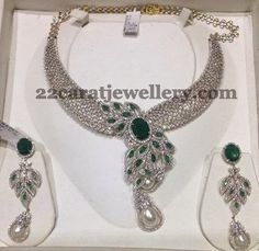 Jewellery Designs: White Gold Finish Diamond Set