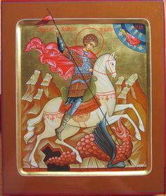 Купить Икона святой Георгий Победоносец , чудо о змие . - икона, икона в подарок
