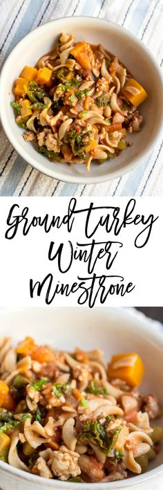 Ground Turkey Winter Minestrone - a hearty soup recipe that will blow your tastebuds up.  The pasta, butternut squash, turkey and pasta are a wonderful combination and it's only 3 SmartPoints per serving on Weight Watchers.  Delicious! http://dashofherbs.com/ground-turkey-winter-minestrone/