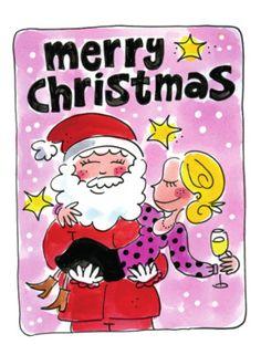 De kerstman tilt een vrouw op- Greetz