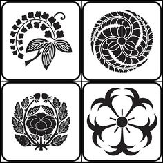 edafuji, hidarimitshufujitomoe, kawaridakibotan, ikarizakura (flower - kamon) - japanese family crests, via peacay