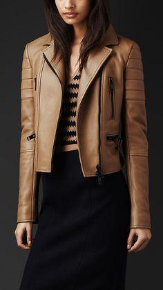 ჭ Burberry Fitted Leather Biker Jacket Leather Jacket Outfits, Faux Leather Jackets, Coats For Women, Jackets For Women, Clothes For Women, Fashion Wear, Fashion Outfits, Moda Boho, Burberry Jacket