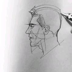 Amazing Pencil Art - drawing tips Pencil Art Drawings, Art Drawings Sketches, Easy Drawings, Guy Drawing, Drawing Faces, Face Profile Drawing, Teeth Drawing, Drawing People Faces, Drawing Heads