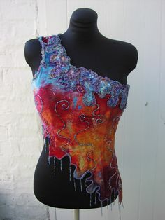 Organism Top - Hand dyed velvet - Free motion embroidery and beading - inspired by Art Nouveaux curves