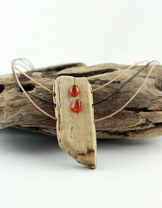 LINDISFARNE DRIFTWOOD AMBER necklace unique wooden statement necklace amber Silver driftwood jewelry organic natural design reclaimed wood