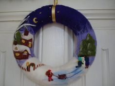 Christmas wreath Needle felted with winter pictures, wool christmas decoration  handmade