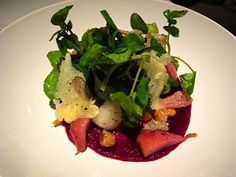 Beetroot and Sunchoke Salad w/black summer truffle, Sausalito Springs watercress, hazelnuts and Vasterbotten cheese at Plaj in SF