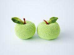 Crochet apple 1 pc  fun kid toy kitchen decoration by FrejaToys #lime