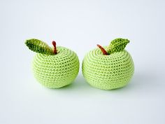 I don't know why I like these; I just like them. :-) Crochet apple 1 pc  fun kid toy kitchen decoration by FrejaToys, $8.00