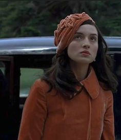 """Spanish actress Maria Valverde wearing a Salmon velvet hat and coat in the film """"Cracks""""by Jordan Scott, 2009. I love the costumes, this one in particular..."""