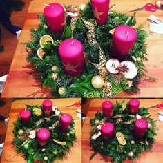 My work. Advent Wreath, Christmas Decorations, Table Decorations, Wreaths, Fun, Home Decor, Homemade Home Decor, Door Wreaths, Christmas Decor